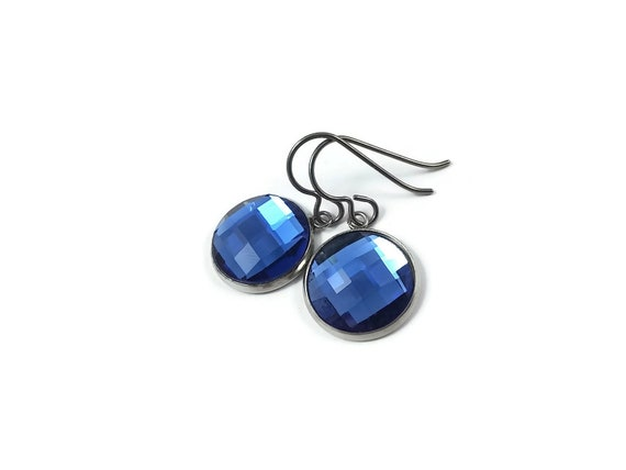 Blue rhinestone faceted dangle earrings - Pure titanium, stainless steel and glass