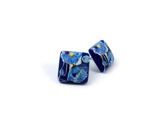 Japanese blue tensha square stud earrings - Hypoallergenic pure titanium and resin