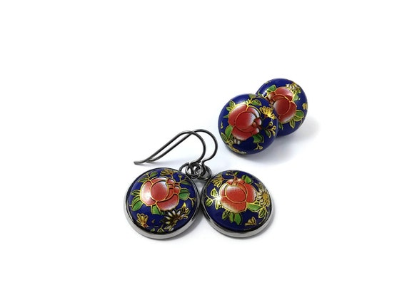 Japanese blue rose tensha dangle or stud earrings - Hypoallergenic pure titanium and resin