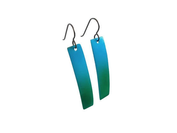 Blue and green rectangle dangle earrings - Titanium and shell