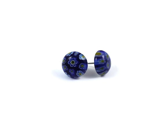 Blue millefiori stud earrings - Titanium and glass