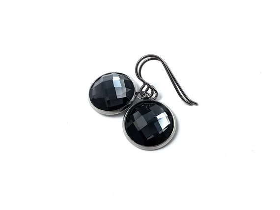 Black rhinestone faceted dangle earrings - Pure titanium, stainless steel and glass
