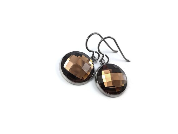 Amber brown rhinestone faceted dangle earrings - Pure titanium, stainless steel and glass