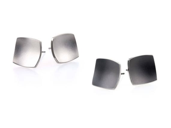Square Dome Titanium Stud Earrings, 100% Hypoallergenic, Sensitive ear