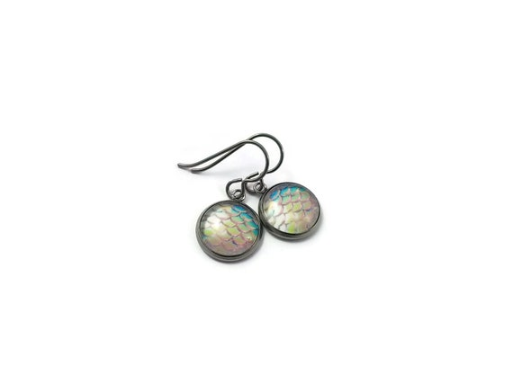 Pinky mermaid dangle earrings - Hypoallergenic pure titanium, stainless steel and glass jewelry