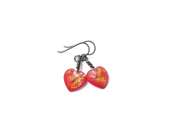 Coral heart drop dangle earrings - Hypoallergenic pure titanium and resin earrings