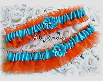 Wedding bridal garter belt set,  orange and turquoise wedding bridal leg garters.
