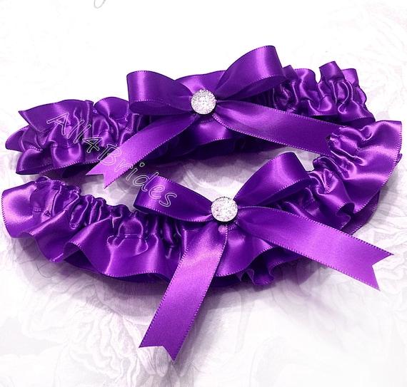 Wedding leg garter belt set lavender and grey bridal keepsake and toss garters