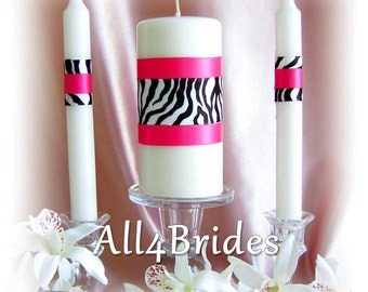 Zebra Print Wedding Unity Candle and Tapers Set, Custom Colors, Wedding Ceremony Candles