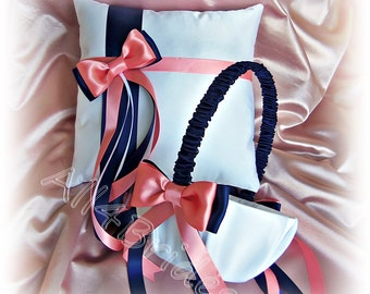Navy blue and coral wedding basket and pillow, flower girl basket and ring bearer pillow wedding decorations