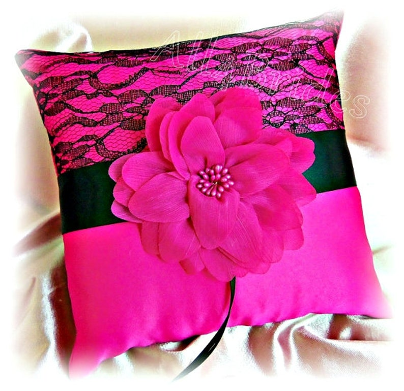 Black Lace And Fuchsia Pink Wedding Ring Pillow Ring Bearer Etsy