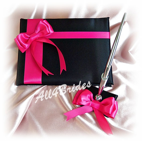 Hot Pink And Black Wedding Guest Book And Pen Set Blak And Etsy