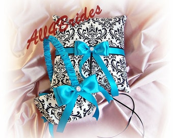 Madison Damask weddings Turquoise ring bearer pillow and flower girl basket.  Damask Wedding Accessories