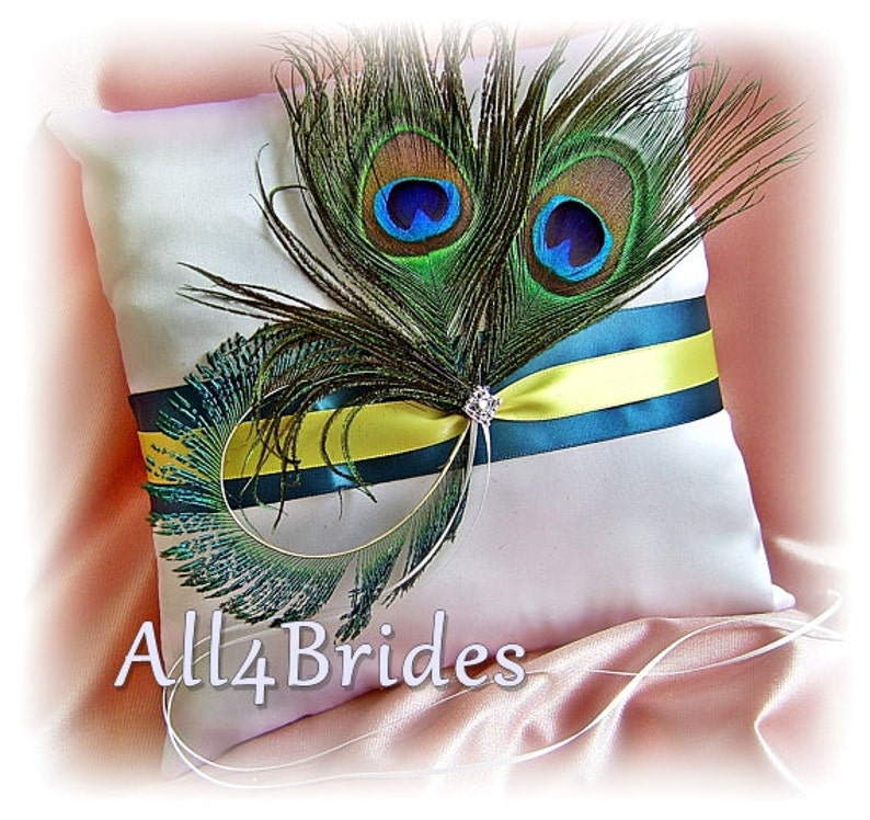 Peacock Wedding Ring Bearer Pillow peacock feathers teal and yellow wedding accessories
