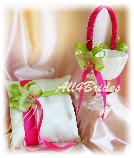 Hot pink and green orchids ring pillow and flower girl basket mightylinksfo