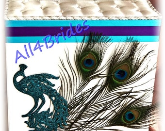 Peacock wedding card box, turquoise and purple peacock wedding card holder, peacock feather wedding decorations.