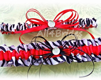 Red and zebra print wedding bridal leg garter set.  Animal print wedding leg garters