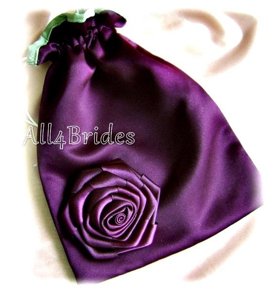 Bridal wedding money dance bag eggplant purple and green drawstring bag.