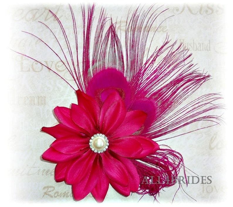 3584e942a9fd5 Hot pink fuchsia peacock feather hair clip bridal fascinator