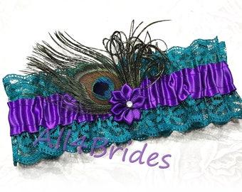 Peacock wedding bridal leg garter, purple and teal lace peacock feather wedding garter.