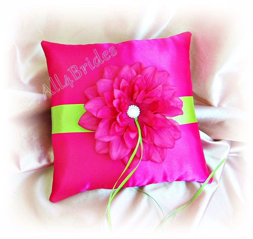 Hot pink and lime green wedding ring bearer pillow.