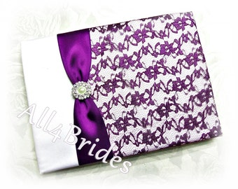 Purple lace wedding guest book, wedding accessories.