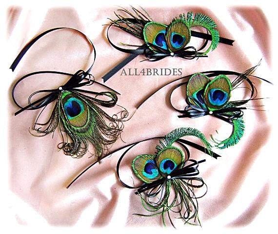 Peacock Wedding Ideas Etsy: Peacock Wedding Decorations Four Peacock Feather