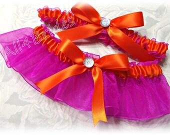 Weddings bridal leg garter set, orange and hot pink bridal keepsake and toss garters.