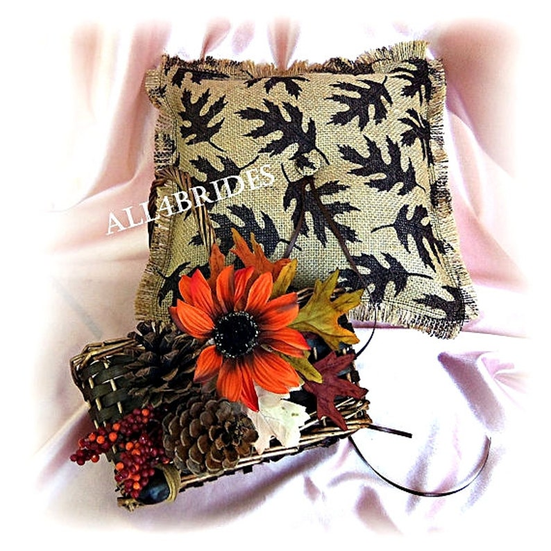 rustic burlap guest book and pen set. Fall leaves wedding guest book