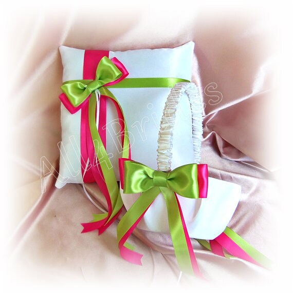 Hot Pink And Lime Green Wedding Flower Girl Basket And Ring Etsy