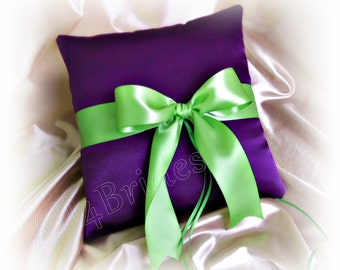 Purple and green wedding ring pillow, ring bearer wedding accessories