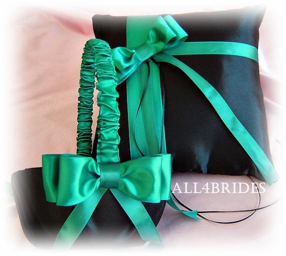 Flower Girl Basket Jade and Black Wedding Accessories Jade and black Wedding Ring Pillow Wedding Guest book Bridal Garters 7pcs