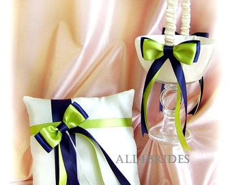 Navy Blue and Green Wedding Basket  and Pillow, Wedding Decorations ring bearer pillow and flower girl basket set.