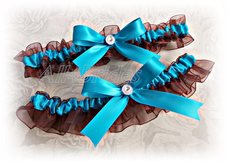 bridal garters in chocolate brown and turquoise. Wedding garter set