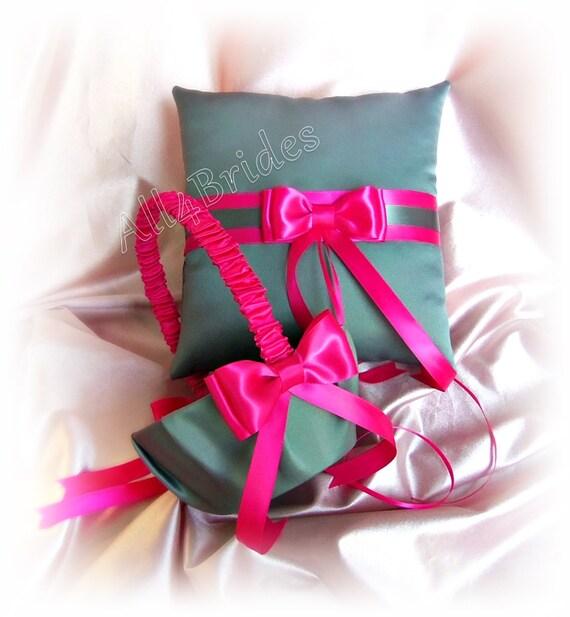 Hot pink and dark grey wedding flower girl basket and ring etsy image 0 mightylinksfo