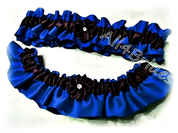 Royal blue and black wedding bridal garter set thin blue line   Etsy
