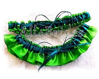 Wedding bridal leg garters emerald green and teal garter belt set, something blue bridal accessories