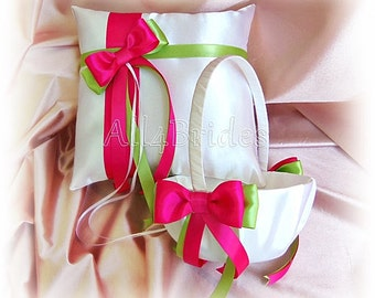 Wedding ring pillow and basket Hot Pink Fuchsia and Lime Green ring bearer pillow and flower girl basket set