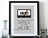 Retro poster print retro typography cassette 70s 80s music cassette tape kitchen art office - Dance To The Music 2 A3