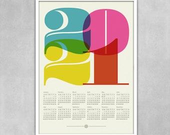 2021 calendar, Mid Century Modern, poster, retro kitchen art, office art print, Eames era, typography poster, graphic design 50 x 70 poster