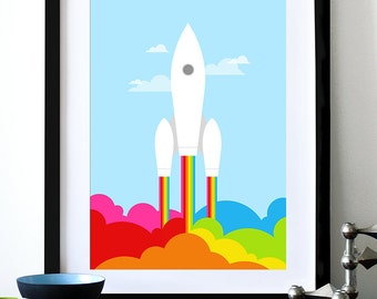 Poster print retro rainbow rocket print Mid century modern space ship nursery art - Rainbow Rocket  A3
