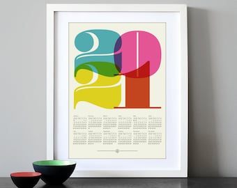 2021 calendar, Mid Century Modern, poster, retro kitchen art, office art print, Eames era, typography poster, graphic design, A3 print