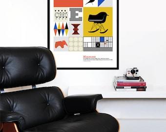 Eames poster print mid century modern kitchen art retro office art Herman Miller nursery art - The World of Eames - 50x 70 cm