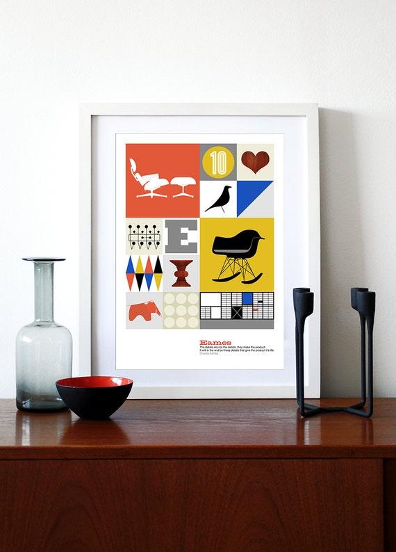 Eames Drucken Küche Plakatkunst Mitte Jahrhundert Modern Retro   Etsy