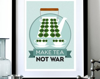 Mid Century Modern poster print Stig Lindberg retro Scandinavian teapot coffee kitchen art - Make Tea Not War 2 - A3