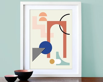 Abstract arch art print, Mid Century Modern, Scandi art print, geometric wall art, contemporary art, minimalism art, abstract art decor