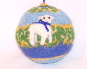 Christmas Ornament - Needle Felted - Lamb - Sheep Ornament - Felt Christmas - Christmas Lamb - Christmas Gift - Holiday Decor
