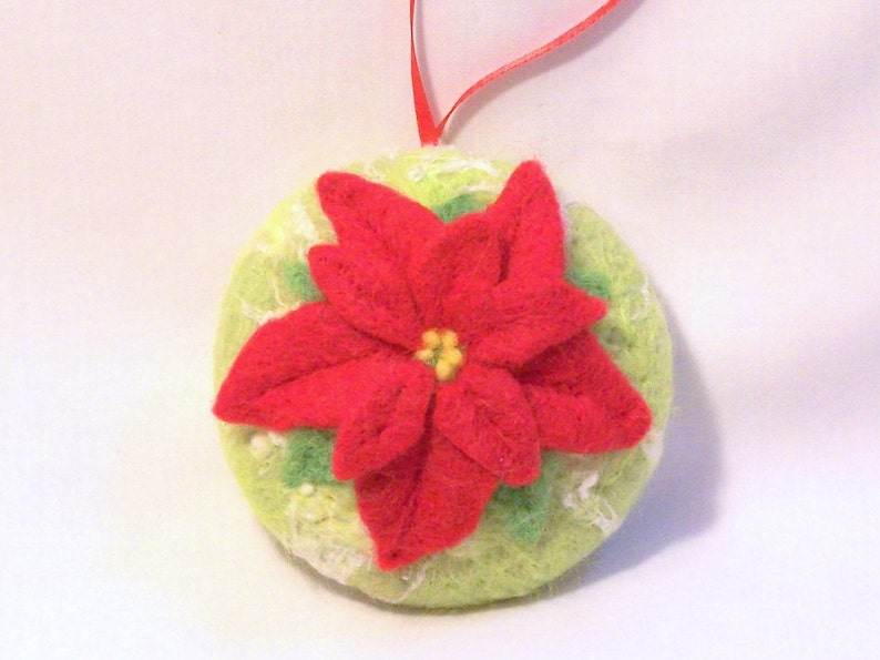 Christmas Ornament Needle Felted Red Poinsettia Needlefelt Ornament Chartreuse Felt Christmas Christmas Gift