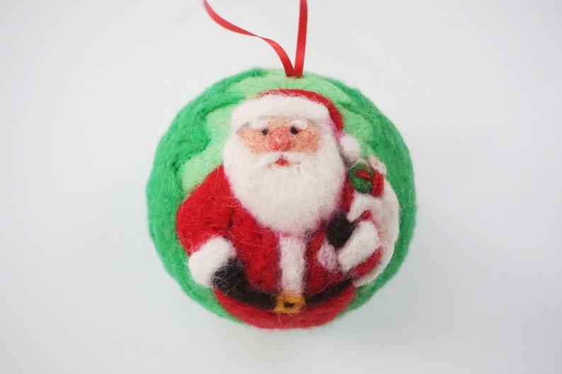Santa Christmas Ornament Needle Felted Felt Christmas Santa Claus Christmas Gift Holiday Decoration Needlefelt