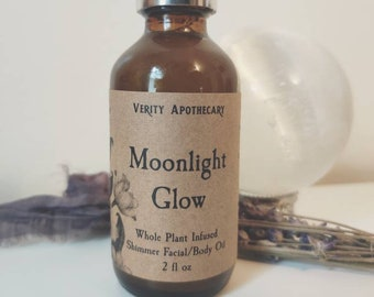 Moonlight Glow- Whole Herb Infused Shimmer Facial & Body Oil